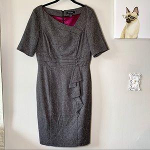 White House Black Market Gray Tweed Pleated Dress